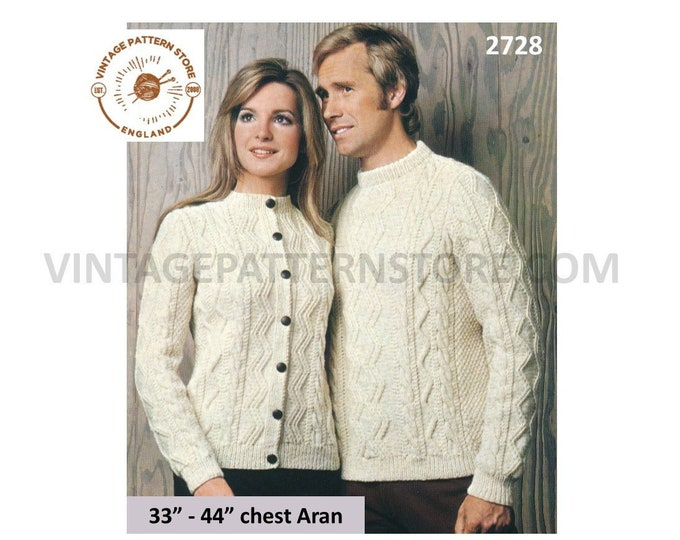 "Ladies Womens Mens 70s vintage crew neck cable cabled raglan aran cardigan & sweater jumper pdf knitting pattern 33"" to 44"" Download 2728"