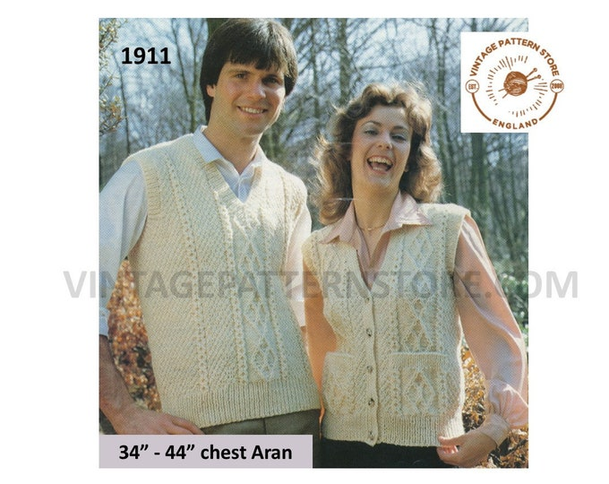 "Ladies Womens Mens 70s vintage V neck cable aran tank top sweater vest and waistcoat pdf knitting pattern 34"" to 44"" PDF download 1911"
