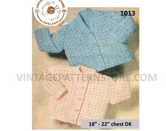 """Baby Babies Toddlers 60s vintage V or round neck lacy lace raglan DK cardigan pdf crochet pattern 18"""" to 22"""" chest Instant PDF download 1013"""