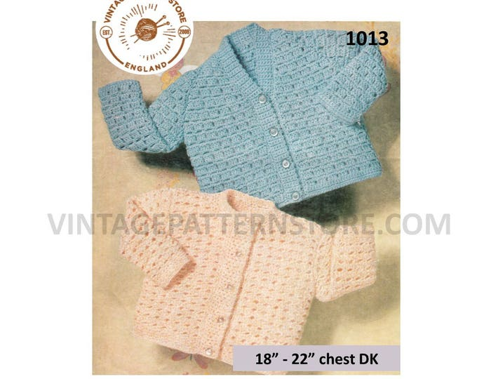 "Baby Babies Toddlers 60s vintage V or round neck lacy lace raglan DK cardigan pdf crochet pattern 18"" to 22"" chest Instant PDF download 1013"