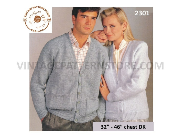 "Ladies Womens Mens Mans 90s easy to knit oversized plus size extra large V neck DK cardigan pdf knitting pattern 32"" to 46"" Download 2301"