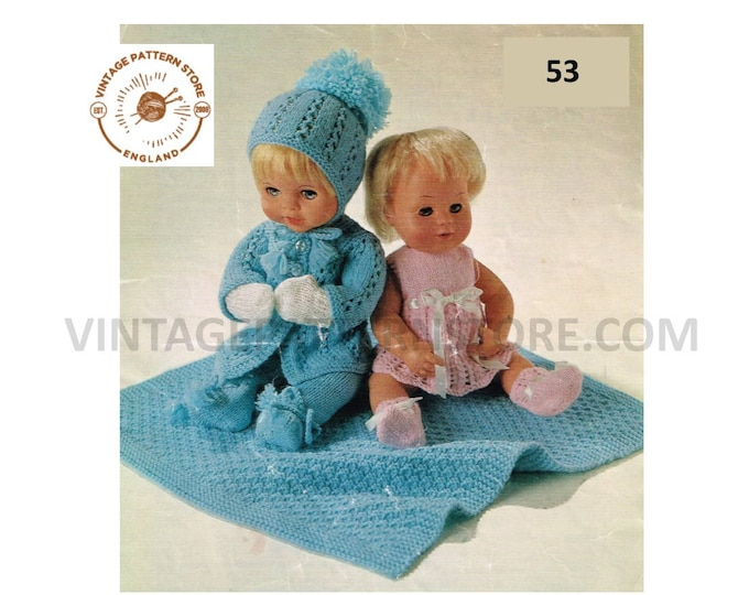 """80s vintage 12"""" 14"""" 16"""" 4 ply Baby Dolls clothes pram set with dress booties coat pull ups cap mittens pdf knitting pattern PDF download 53"""