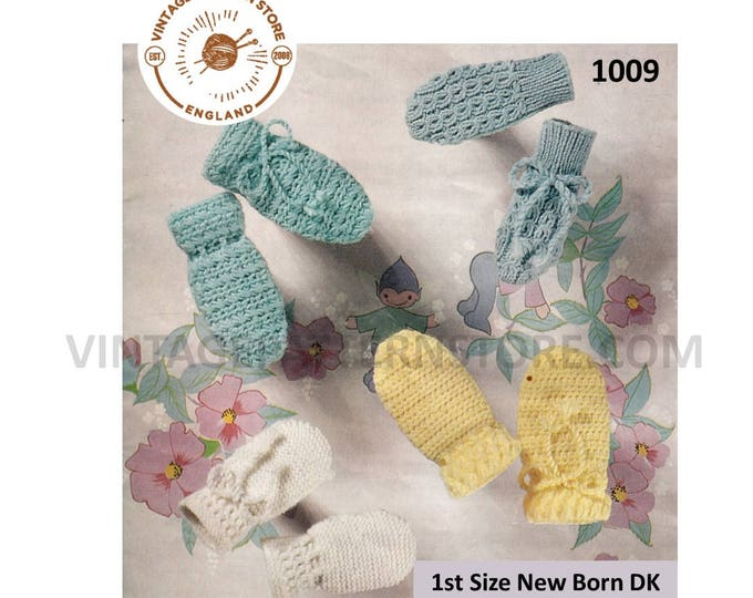 Newborn Baby Babies 60s vintage easy to crochet and cable cabled mittens pdf crochet pattern 4 designs to crochet Instant PDF download 1009