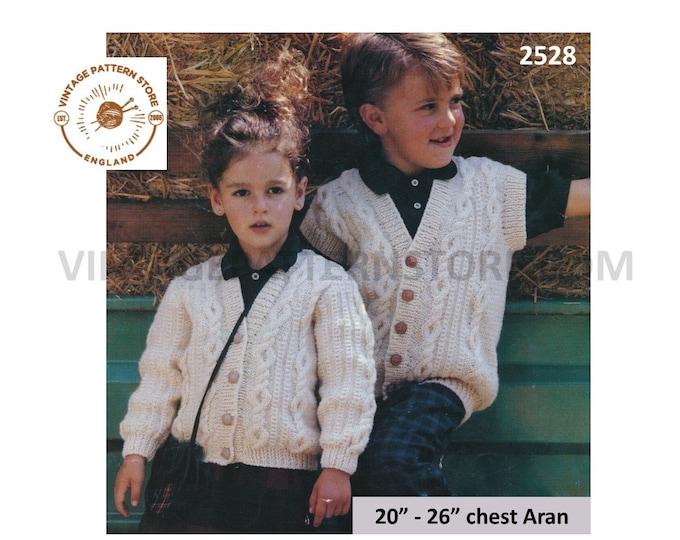 """Boys Girls 90s V neck cable cabled aran raglan cardigan and cap sleeve waistcoat pdf knitting pattern 20"""" to 26"""" chest PDF download 2528"""
