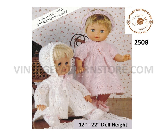 """90s 12"""" 13"""" 14"""" 15"""" 16"""" 17"""" 18"""" 19"""" 20"""" DK dolls clothes round neck matinee coat jacket dress and bonnet PDF knitting pattern Download 2508"""