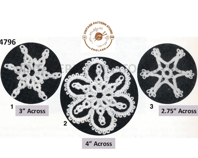 80s vintage tatted lace lacy snowflake Christmas ornament decorations pdf tatting pattern 3 design Instant PDF Download 4796
