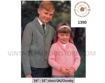 "Girls Boys 60s vintage DK or chunky knit shawl collar cable cabled raglan cardigan jacket pdf knitting pattern 24"" to 32"" PDF Download 1390"