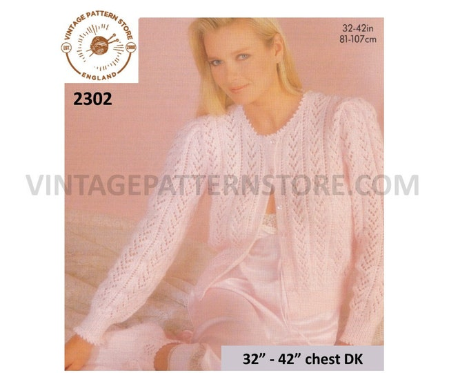 """Ladies Womens 80s vintage round neck lacy picot DK raglan bed jacket pdf knitting pattern 32"""" to 42"""" chest Instant PDF download 2302"""