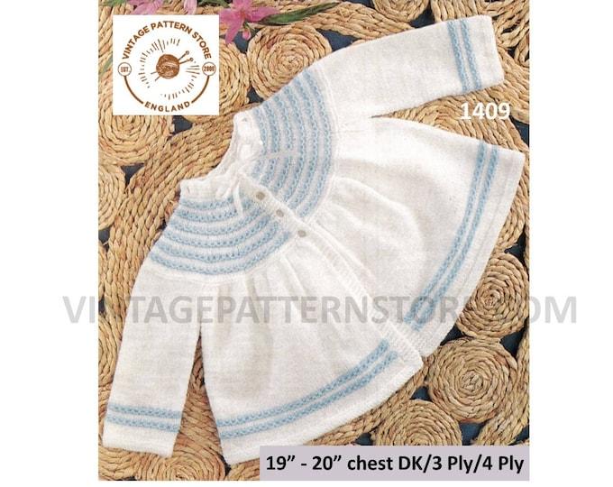 """Baby Babies 70s vintage DK 3 4 ply round neck striped yoke yoked raglan matinee coat cardigan pdf knitting pattern 19"""" to 20"""" Download 1409"""