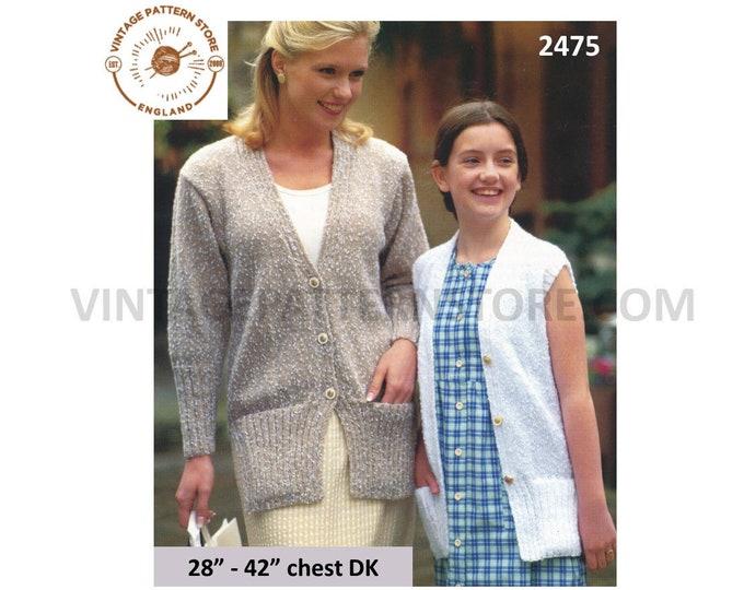 "Ladies Womens Girls 90s easy to knit DK V neck raglan cardigan cap sleeve long line waistcoat pdf knitting pattern 28"" to 42"" Download 2475"