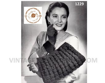 Ladies 1930s, Crochet, evening clutch bag with wrist handle - One Size - Vintage PDF Crochet Pattern 1229