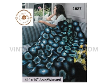 "1970s, hexagonal check, multi coloured, afghan throw in arna or worsted - 44"" x 70"" - Vintage PDF Crochet Pattern 1687"
