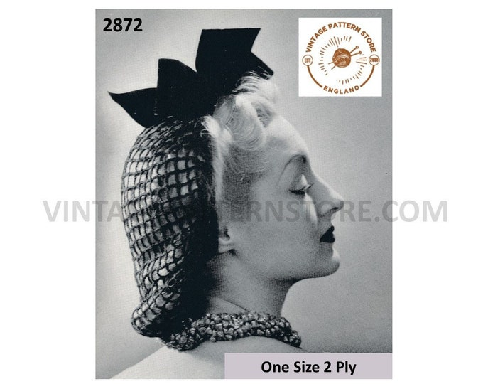 Ladies Womens 30s vintage easy to crochet 2 ply snood hat cap with velvet bow pdf crochet pattern One Size Instant PDF download 2872