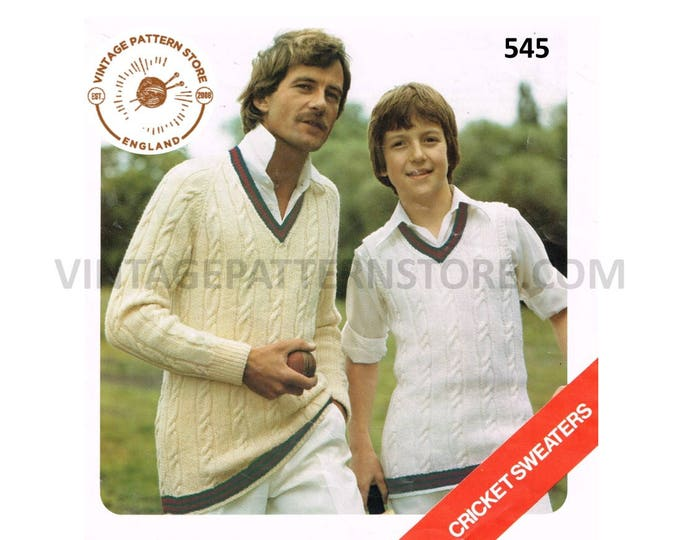 """Father Son Mens Mans Boys V neck cable cabled DK jumper sleeveless sweater vest tank top pdf knitting pattern 26"""" to 48"""" chest Download 545"""