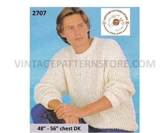"""Mens 80s easy to knit crew neck drop shoulder oversized plus size extra large dolman sweater pdf knitting pattern 48"""" to 56"""" Download 2707"""
