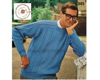 """Mans, crew neck, rope cabled, raglan, DK sweater - 38"""" - 44"""" chest - Vintage PDF Knitting Pattern 345"""