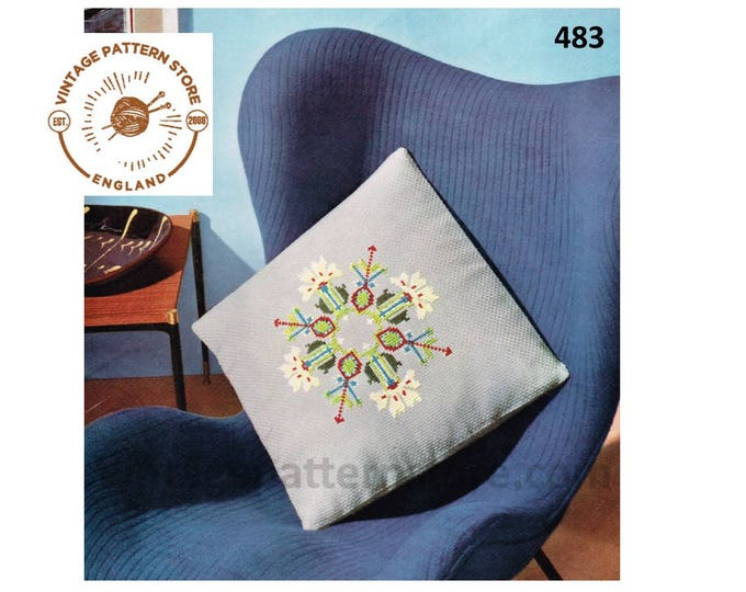 "70s vintage floral embroidered square cushion cover pdf embroidery pattern 19"" by 19"" Instant PDF Download 483"