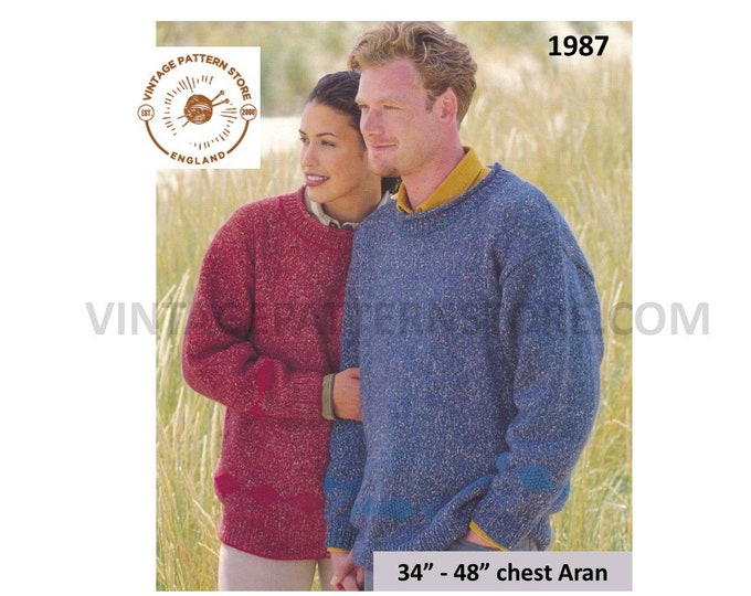 """Ladies Womens Mens simple and easy to knit drop shoulder dolman aran sweater jumper pdf knitting pattern 34"""" to 48"""" chest PDF download 1987"""