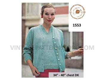 85f67ea4812 Cardigan sweater knitting pattern in DK Ladies Vintage 60s cardigan