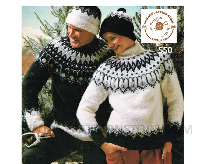"""Ladies Womens Mens 90s round polo neck fair isle yoke yoked raglan aran sweater jumper hat cap pdf knitting pattern 32"""" to 42"""" Download 550"""