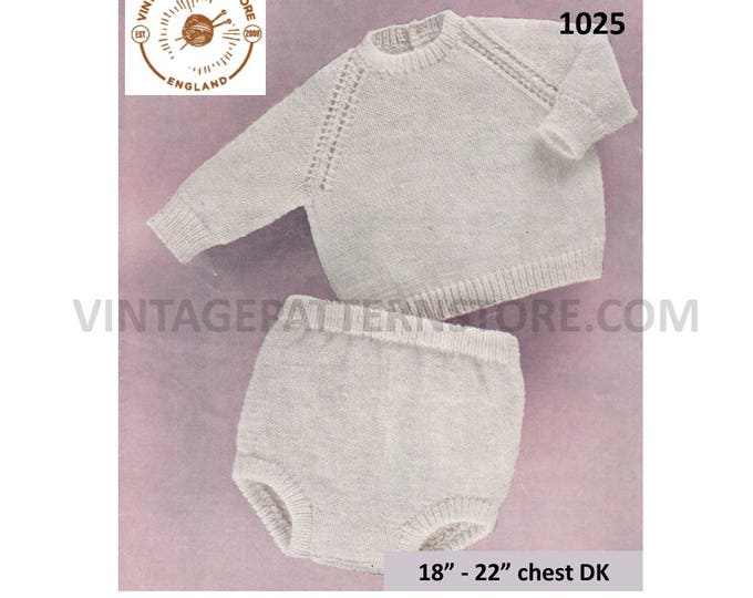 """Baby Babies easy to knit round neck DK raglan sweater jumper and pilch shorts pdf knitting pattern 18"""" to 22"""" chest PDF download 1025"""