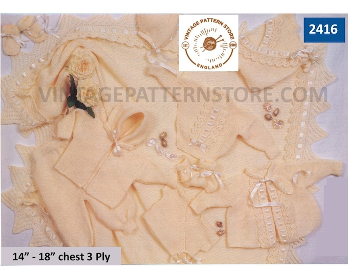 """Premature Preemie Baby Babies 3 ply layette matinee coat hoodie sweater trousers shawl bonnet pdf knitting pattern 14"""" to 18"""" download 2416"""