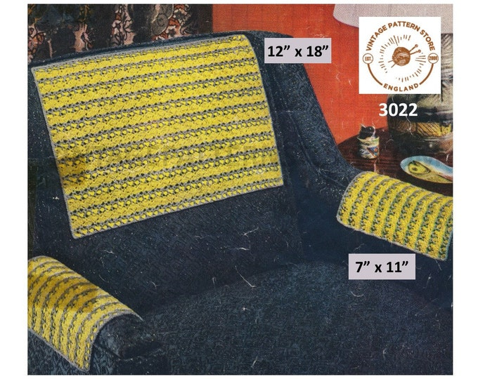 """50s vintage retro settee sofa chair arm and back protector covers pdf crochet pattern 12"""" by 18"""" and 7"""" by 11"""" Instant PDF download 3022"""