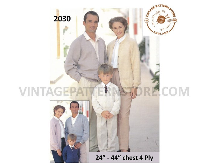 """Womens Mens Boys Girls 90s family 4 ply quick plain simple & easy to knit raglan cardigan pdf knitting pattern 24"""" to 44"""" Download 2030"""