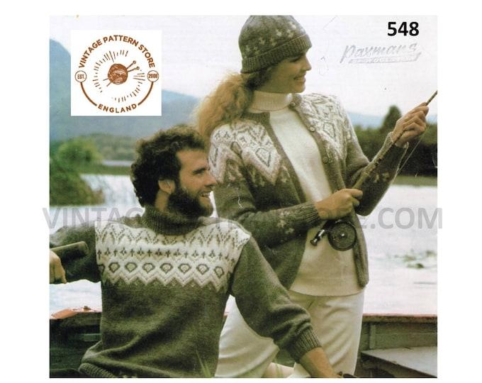 """Ladies Womens Mens 80s vintage round neck fair isle yoke DK cardigan sweater jumper & hat pdf knitting pattern 32"""" to 39"""" PDF download 548"""