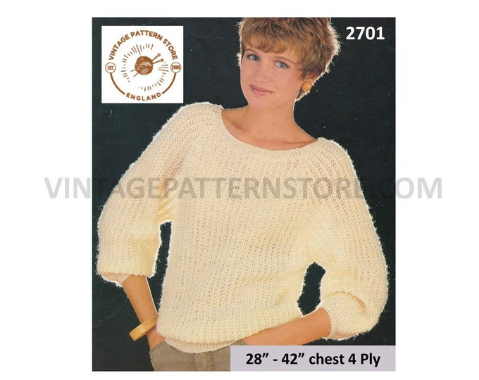 """Ladies Womens 80s vintage easy to knit 4 ply round neck dolman sweater jumper pdf knitting pattern 28"""" to 42"""" Instant PDF download 2701"""