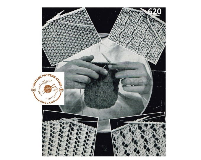 30s vintage easy simple beginners knitting childrens Learn to knit book Instant PDF Download 620