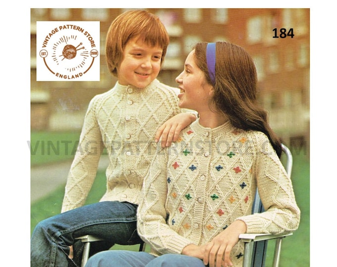 """Girls Boys 80s vintage crew neck lattice cable cabled optional embroidery raglan aran cardigan pdf knitting pattern 26"""" to 32"""" Download 184"""