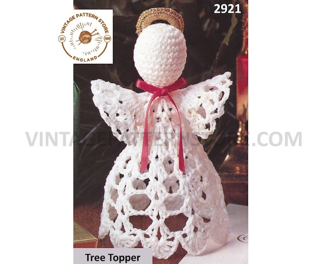 """80s vintage Christmas Holiday angel fairy tree topper ornament decoration pdf crochet pattern approx 6"""" high Instant PDF Download 2921"""