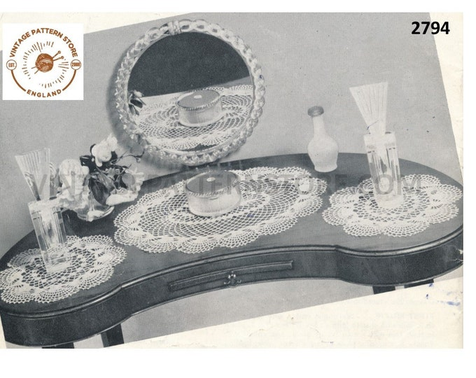 40s vintage large oval and small round lacy lace doily doilies cheval dressing table set pdf crochet pattern Instant PDF Download 2794