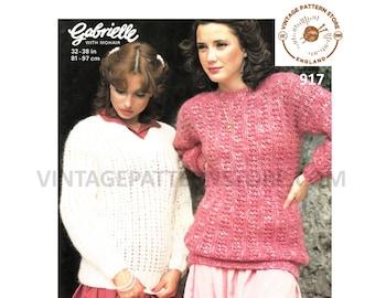 "Ladies 1970s, V neck, easy to knit, sweater & slash neck oversweater - 32"" - 38"" chest - Vintage PDF Knitting Pattern 917"
