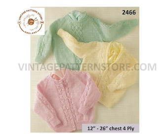 """Premature Preemie Baby Babies 4 ply V round neck cable cabled raglan cardigan & sweater jumper pdf knitting pattern 12"""" to 26"""" Download 2466"""