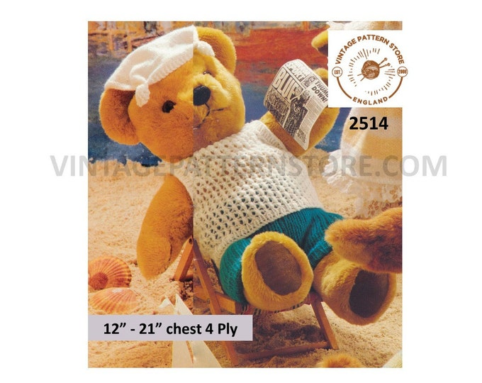 "90s 4 ply Teddy bear clothes sweater vest hanky hat and trousers pdf knitting pattern 12"" to 21"" chest Instant PDF download 2514"