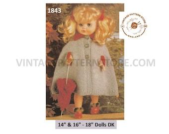 "80s vintage 14"" 16"" DK dolls clothes cape and umbrella pdf knitting pattern Instant PDF download 1843"