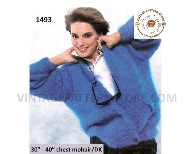 """Ladies Womens 90s V neck easy to knit crossover mohair dolman cardigan jacket knitting pattern 30"""" - 40"""" chest PDF Download 1493"""