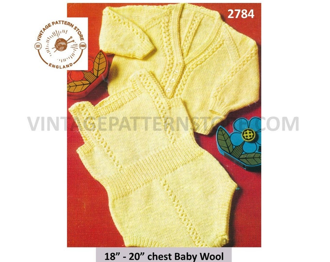 "Baby Babies 70s vintage DK cable cabled all in one romper play suit & V neck raglan cardigan pdf knitting pattern 18"" to 20"" Download 2784"