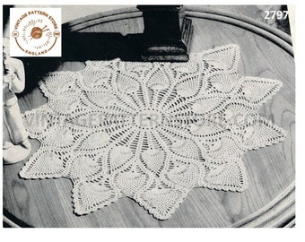 "40s vintage large pineapple lace lacy doily doilies table mat pdf crochet pattern 18"" diameter Instant PDF download 2797"