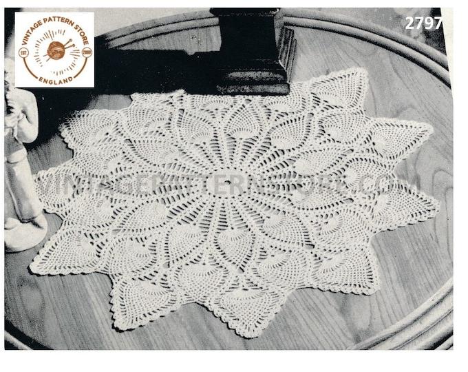 "40s vintage large pineapple lace lacy doily doilies table mat pdf crochet pattern 18"" diameter Instant PDF download 2797"