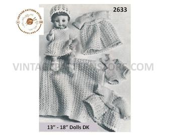 "60s vintage 13"" 14"" 15"" 16"" 17"" 18"" Baby doll clothes DK dress coat hat socks PDF knitting pattern PDF download 2633"