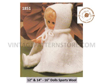 "80s vintage 12"" 16"" 5 ply dolls clothes hooded cape and trousers pdf knitting pattern Instant PDF Download 1851"