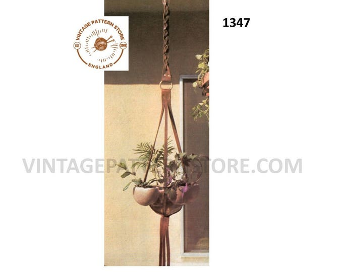 70s vintage easy to make plaited leather plant pot hanger pdf leatherwork pattern Instant PDF download 1347