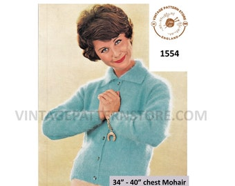 """Ladies Womens 50s vintage easy to knit round neck collared raglan mohair cardigan jacket pdf knitting pattern 34"""" to 40"""" chest Download 1554"""
