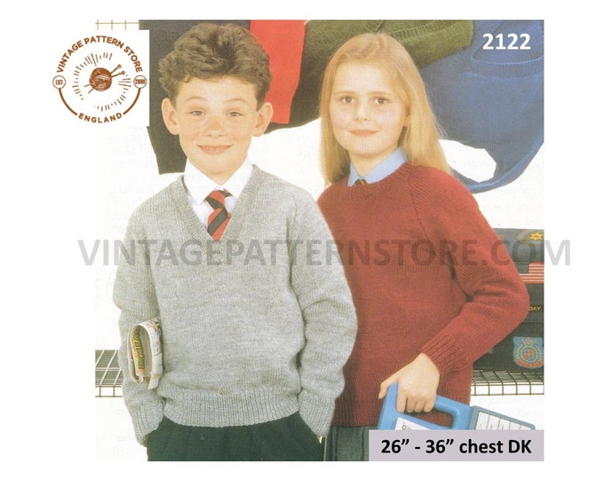 "Childrens Girls Boys plain & simple easy to knit V round neck DK raglan school sweater jumper knitting pattern 26"" - 36"" PDF Download 2122"