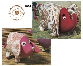 80s vintage cuddly toy or weighted doorstop pig piglet and elephant pdf sewing pattern Instant PDF Download 1661