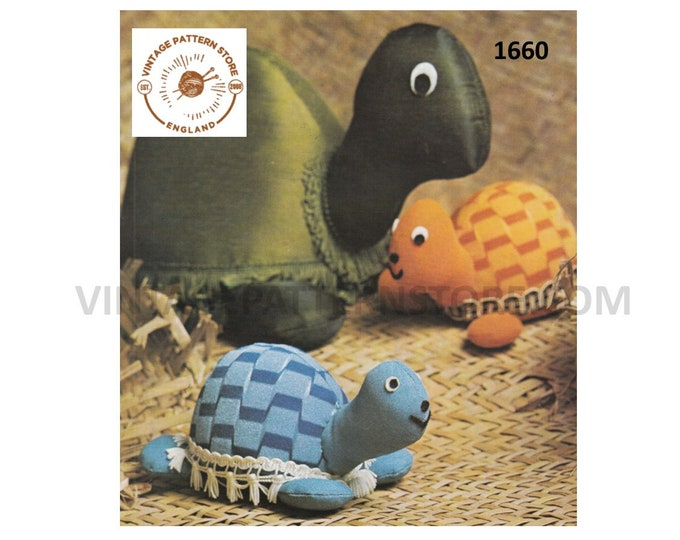 80s vintage easy to make mother and baby weighted doorstop or cuddly toy tortoise pdf sewing pattern Instant PDF Download 1660