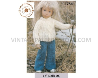 """80s vintage 17"""" DK dolls clothes crew neck raglan sweater and trousers pants pdf kntting pattern Instant PDF download 1754"""